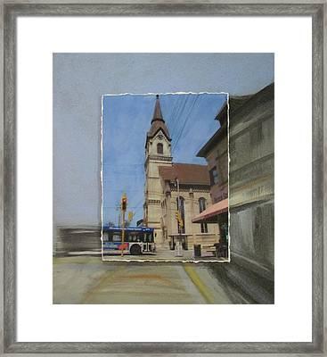 Brady Street - Church Layered Framed Print