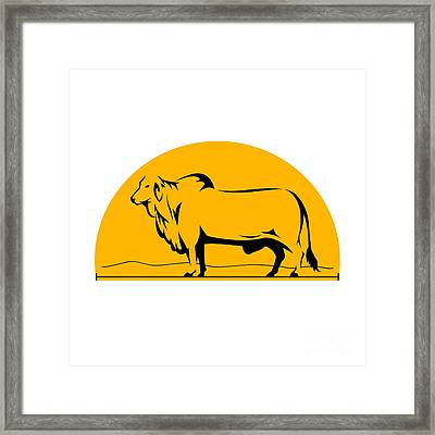 Brahman Bull Mountains Side Half Circle Framed Print