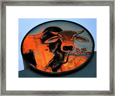 Brahman Bull Sign 1960s Framed Print