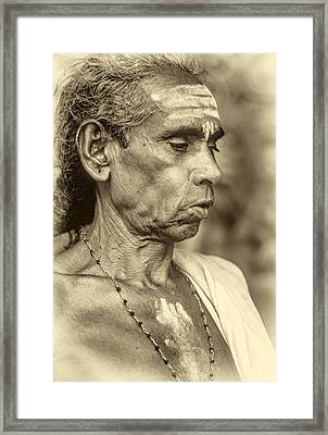 Brahmin Priest - Sepia Framed Print by Steve Harrington