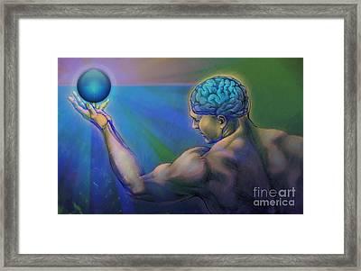 Brain Back Orb Framed Print by Rob Corsetti