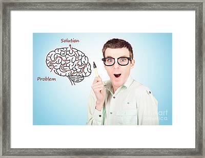 Brain Businessman With Creative Idea Illustration Framed Print by Jorgo Photography - Wall Art Gallery