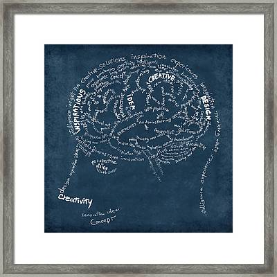 Brain Drawing On Chalkboard Framed Print