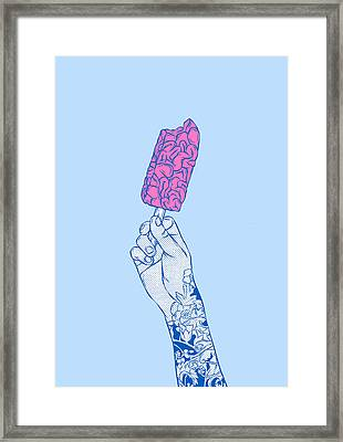 Brain Ice Cream Mmmmm Framed Print by Evgenia Chuvardina