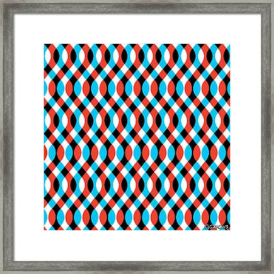 Brain Waves - Blue Framed Print