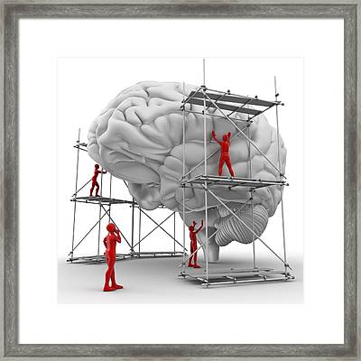 Brain With Workers, Mental Health Framed Print