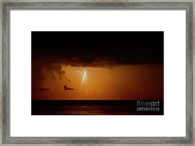 Branch Lightning Over Lake Framed Print by Charline Xia