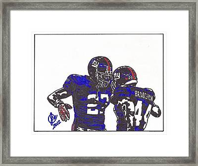 Framed Print featuring the drawing Brandon Jacobs And Ahmad Bradshaw by Jeremiah Colley