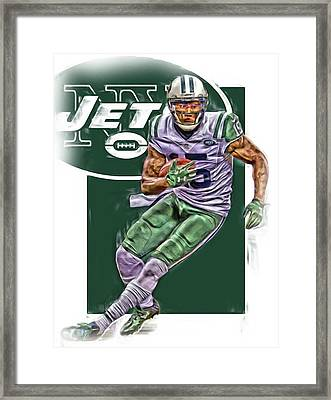 Brandon Marshall New York Jets Oil Art Framed Print by Joe Hamilton