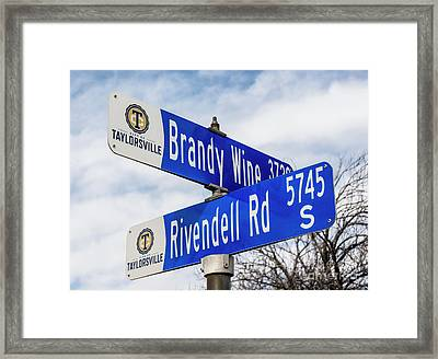 Brandywine And Rivendell Street Signs Framed Print by Gary Whitton