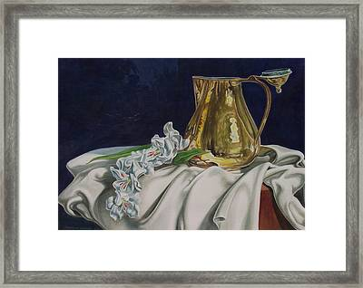 Brass And Flowers Framed Print by Arnold Hurley