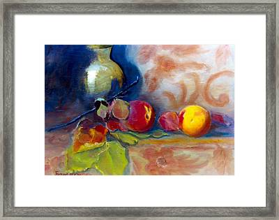 Brass And Peaches Framed Print by Jeanene Stein