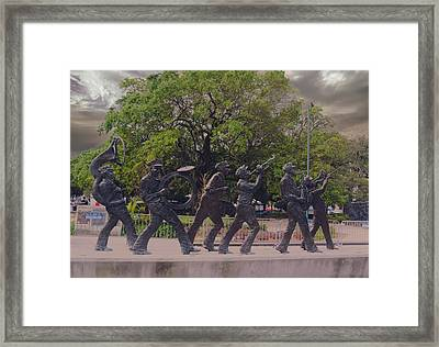 Brass Band Statue In Louis Armstrong Park Framed Print by Art Spectrum
