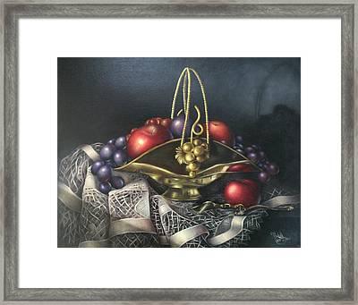 Brass Basket Framed Print by Michelle Kerr