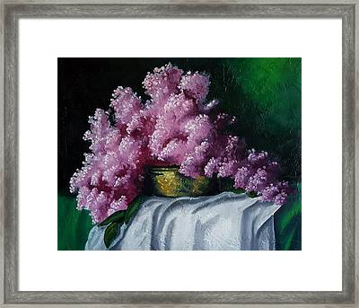 Brass Bowl And Flowers Framed Print