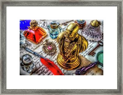 Brass Bust And Ink Wells Framed Print by Garry Gay