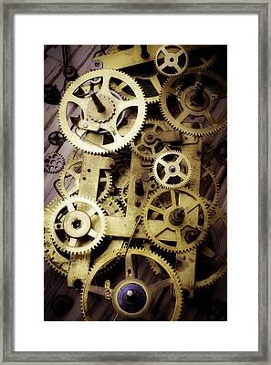 Brass Clock Gears Framed Print by Garry Gay