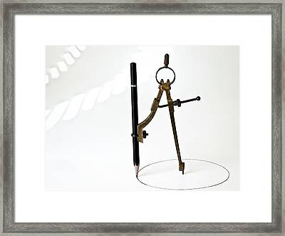 Brass Compass And Pencil Framed Print by Bob Orsillo