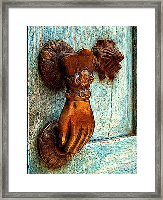 Brass Hand On The Blue Door Framed Print by Mexicolors Art Photography