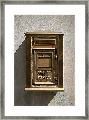 Brass Mail Box Nyc Framed Print by Robert Ullmann