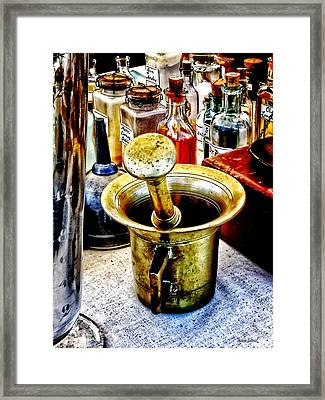 Brass Mortar And Pestle With Handles Framed Print by Susan Savad