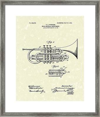 Brass Musical Instrument 1906 Patent Framed Print