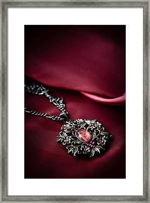 Brass Pendant With Red Gem Framed Print by Jaroslaw Blaminsky