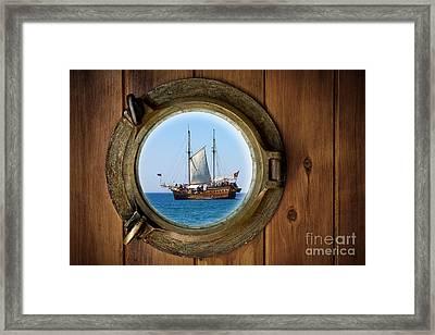 Brass Porthole Framed Print by Carlos Caetano