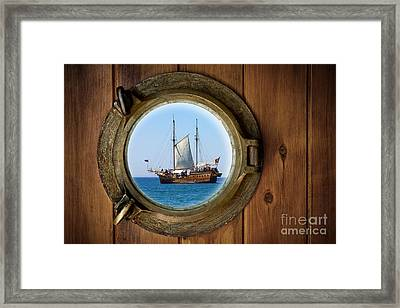 Brass Porthole Framed Print