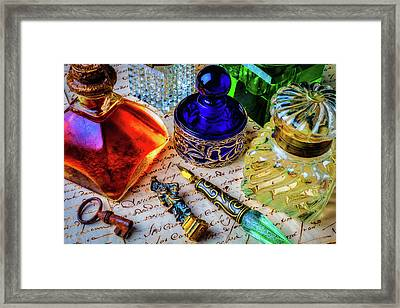 Brass Seal And Ink Wells Framed Print by Garry Gay