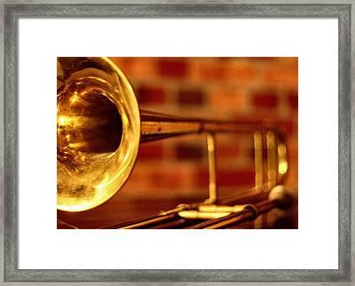 Brass Trombone Framed Print by David  Hubbs