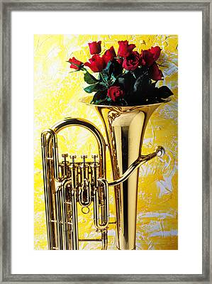 Brass Tuba With Red Roses Framed Print by Garry Gay