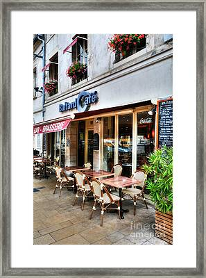 Brasserie In Beaune France Framed Print