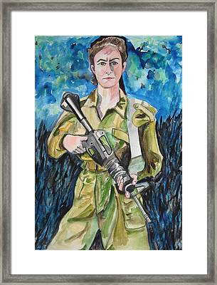 Framed Print featuring the painting Bravado, An Israeli Woman Soldier by Esther Newman-Cohen