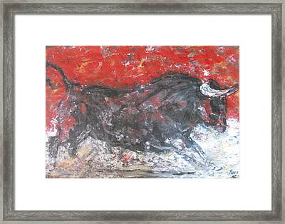 Framed Print featuring the painting Brave Black Bull by Koro Arandia