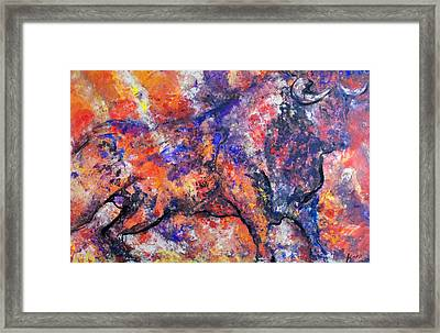 Framed Print featuring the painting Brave Bull by Koro Arandia