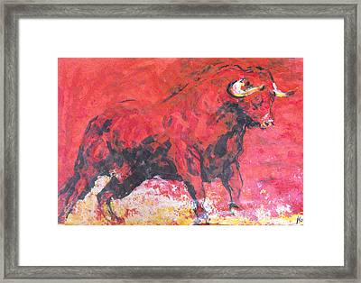 Brave Red Bull Framed Print