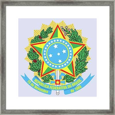 Framed Print featuring the drawing Brazil Coat Of Arms by Movie Poster Prints