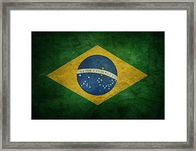 Brazil Flag Framed Print by Les Cunliffe