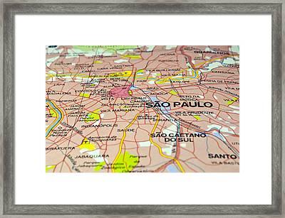 Brazil Map. Sao Paulo. Framed Print