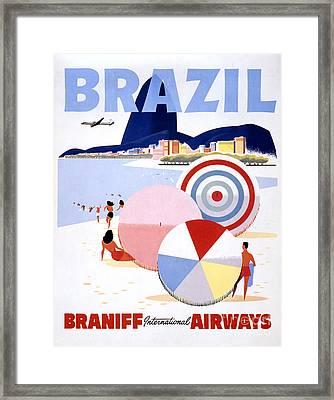 Brazil Vintage Travel Poster Restored Framed Print