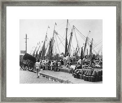 Brazilian Dock Scene Framed Print by Underwood Archives