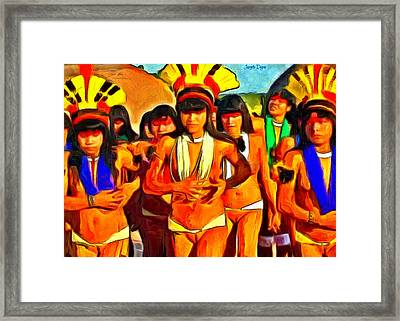 Brazilian Indian Girls - Da Framed Print
