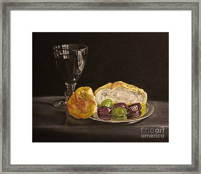 Bread And Olives Framed Print