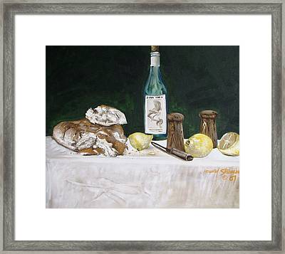 Bread And Wine Framed Print by Howard Stroman
