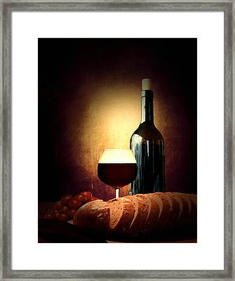 Bread And Wine Framed Print by Lourry Legarde