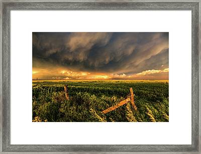 Breadbasket - Old Fence And Stormy Sky In Kansas Framed Print