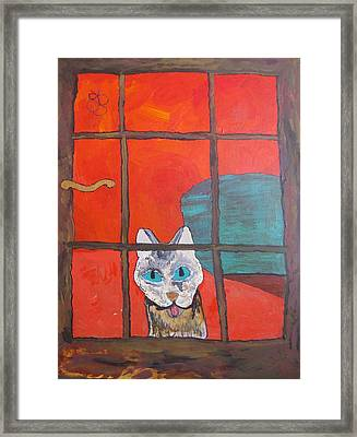 Framed Print featuring the painting Break And Enter Cat by AJ Brown