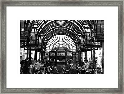 Break Time In Hamburg Mono Framed Print