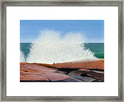 Framed Print featuring the painting Breakers On Georgian Bay by Kenneth M  Kirsch